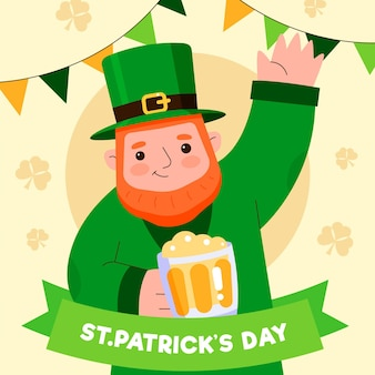 Flat st. patrick's day illustration with  man holding beer pint and waving