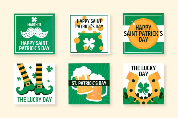 Flat st. patrick's day instagram post collection