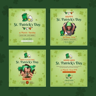 Flat st. patrick's day instagram posts collection
