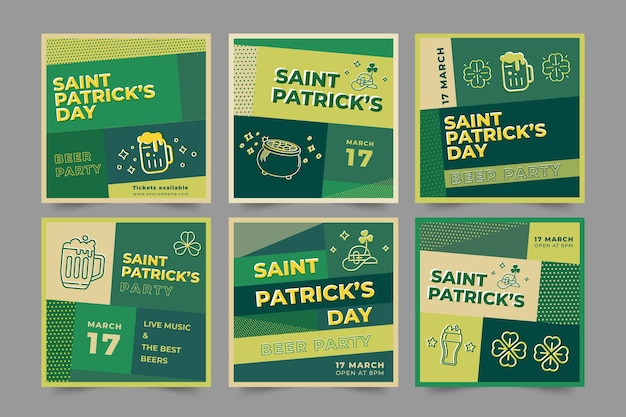 Flat st. patrick's day instagram posts set