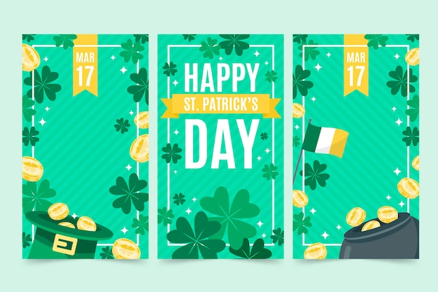 Flat st. patrick's day instagram stories collection