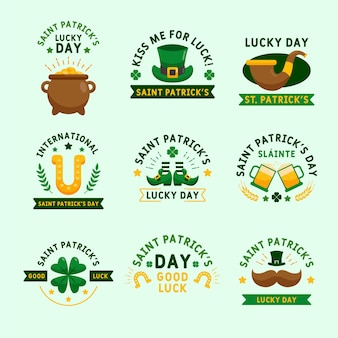 Flat st. patrick's day label pack