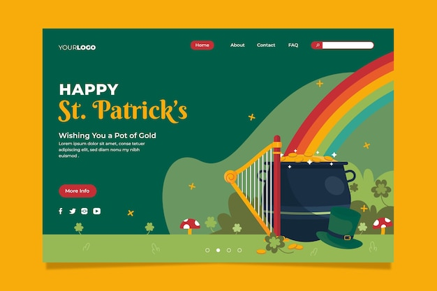 Flat st. patrick's day landing page template