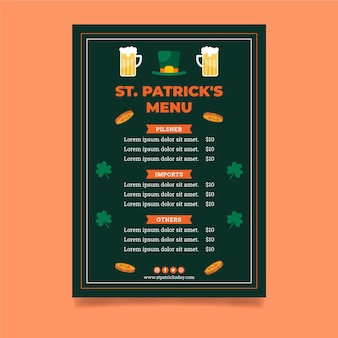 Flat st. patrick's day menu template