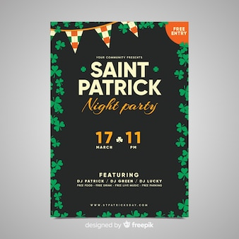Flat st patrick's day party poster