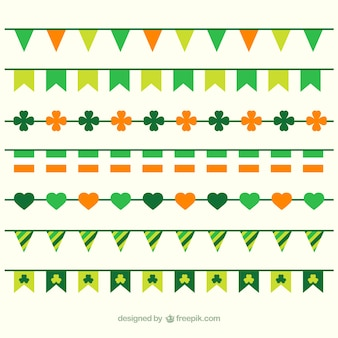 Flat st. patrick's day pennant collection