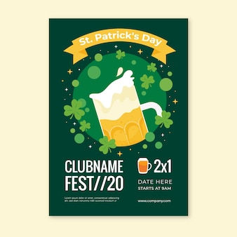 Flat st. patrick's day poster template