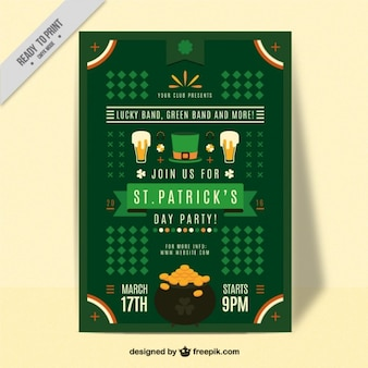 Flat st. patrick's day poster