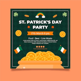 Flat st. patrick's day square flyer template