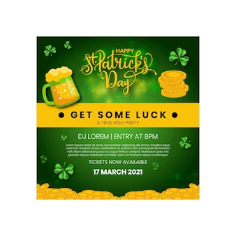 Flat st. patrick's day square flyer