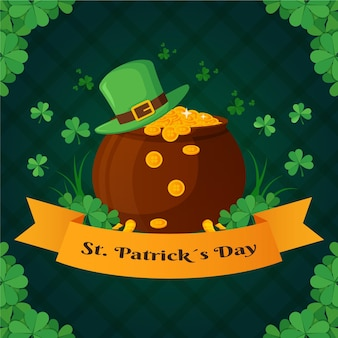 Flat st. patrick's day treasure with coins