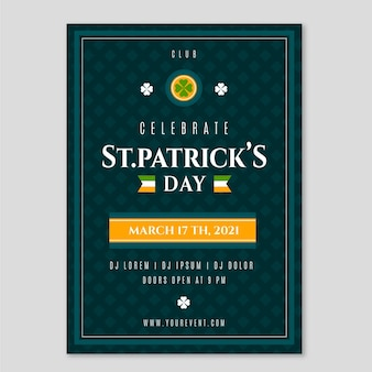 Flat st. patrick's day vertical poster template