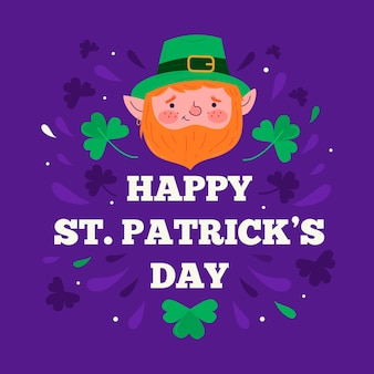 Flat st. patrick's day with clovers illustrations
