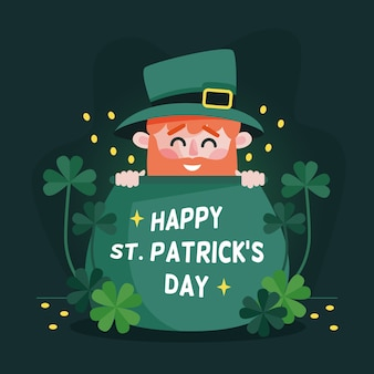 Flat st. patrick's day with lettering