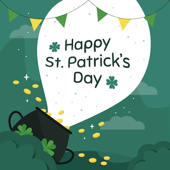 Flat st. patrick's day with treasure illustration and lettering