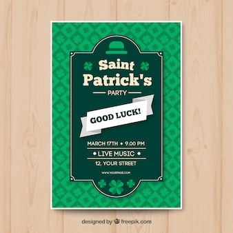 Flat st patrick's party poster