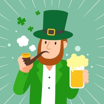 Flat st. patricks day leprechaun holding a beer