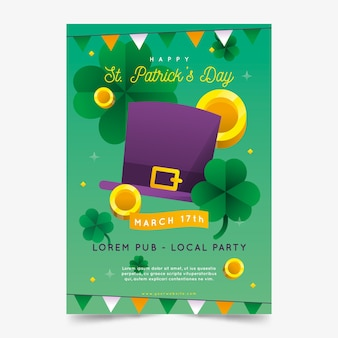 Flat st. patricks day poster template