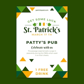 Flat st patricks flyer template