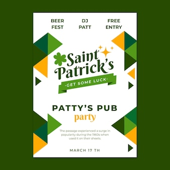 Flat st patricks poster template