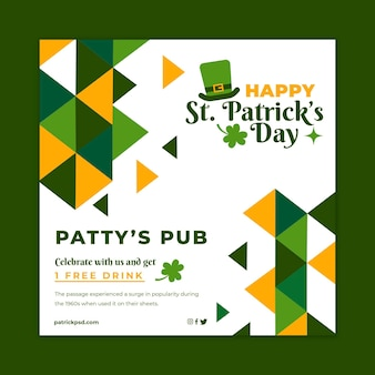 Flat st patricks square flyer template Premium Vector