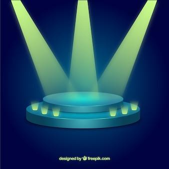 Flat stage podium with elegant lightning