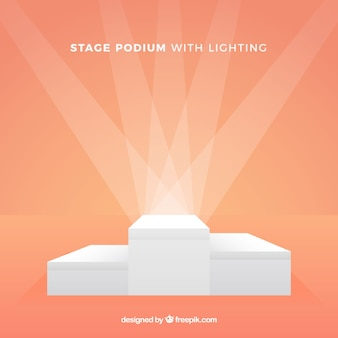 Flat stage podium with elegant lightning