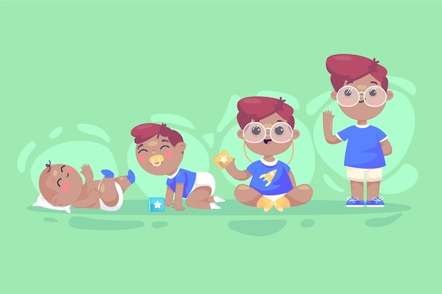 Flat stages of a baby boy illustration