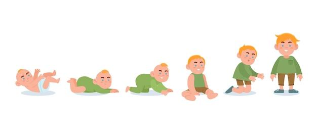 Flat stages of a baby boy pack