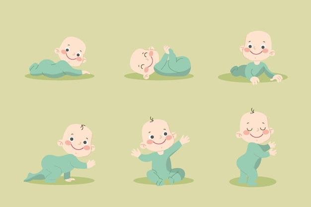 Fasi piane di un set di neonato