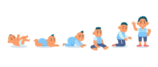 Flat stages of a baby boy set