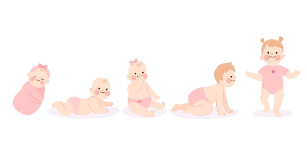 Flat stages of a cute baby girl collection