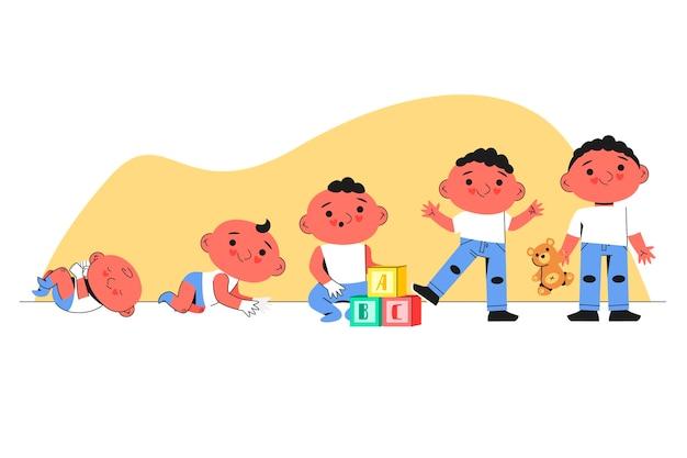아기 소년 컬렉션의 평면 단계