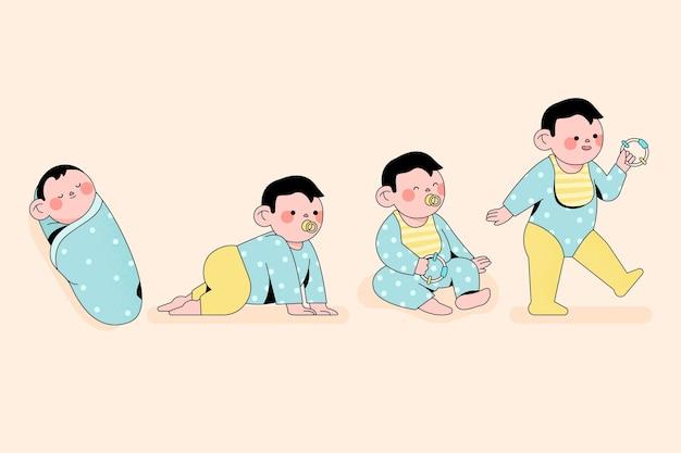 男の子のイラストのフラットステージ