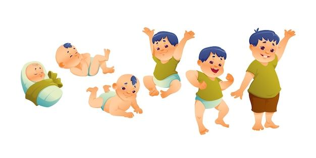 Плоские этапы иллюстрации мальчика
