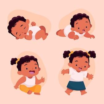 아기 소녀 컬렉션의 평면 단계 무료 벡터
