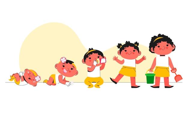 女の赤ちゃんコレクションのフラットステージ