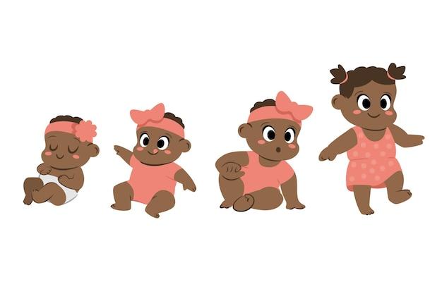 아기 소녀 그림의 평면 단계 무료 벡터