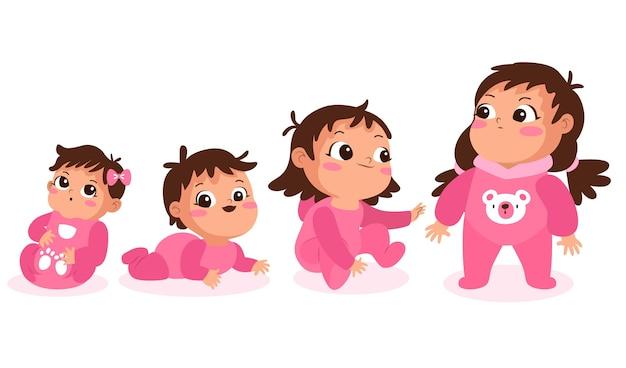아기 소녀 세트의 평면 단계