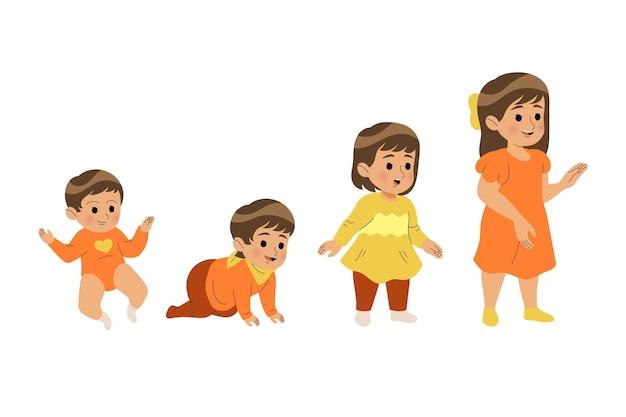 여자 아기의 평면 단계 무료 벡터