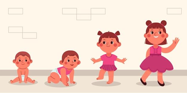귀여운 아기 소녀의 평면 단계