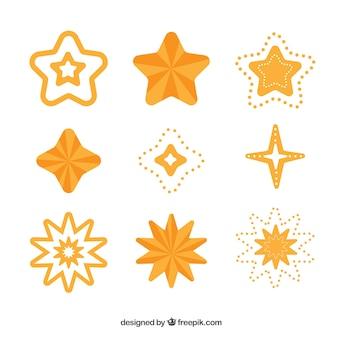 Collezione di stelle piatte