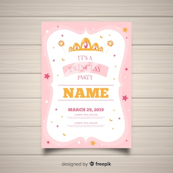 Flat stars princess party invitation template