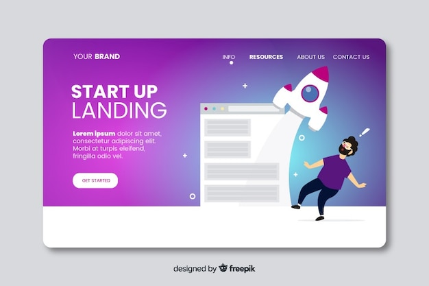 Flat start up landing page template