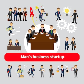 Flat startup concept with business people