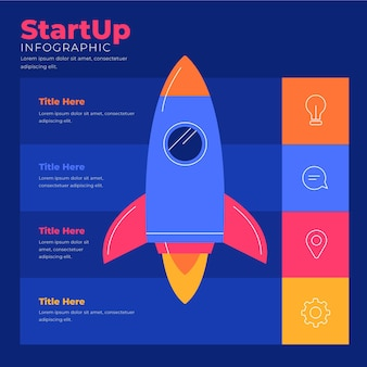 Flat startup infographic concept