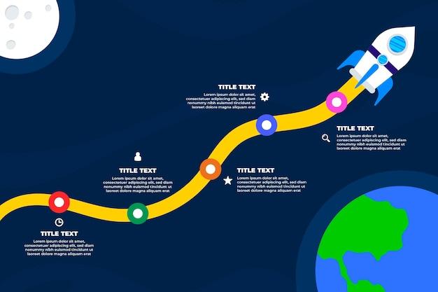 Плоский запуск инфографики концепция