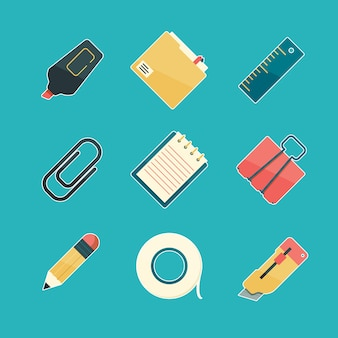 Flat stationery icon set
