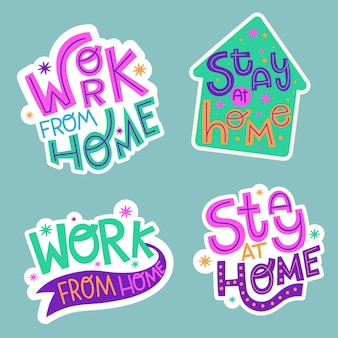 Flat stay home stickers collection