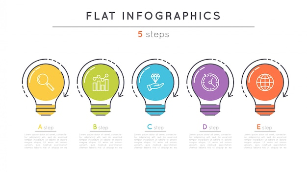 Flat  steps timeline infographic template.